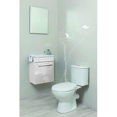 Meuble salle de bain sous vasque NINO LAQUE 44 couleur blanc moderne avec  plan céramique