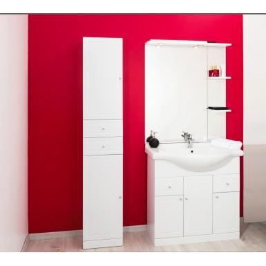 Meuble colonne salle de bain à poser TOLEDE 80 couleur blanc et moderne