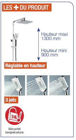 colonne de douche thermostatique c800, robinet and co robinetterie ... - Hauteur Robinet Douche Italienne